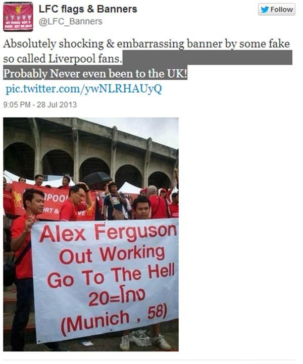 """Fan Liverpool gây sốc với biểu ngữ: """"Ferguson, hãy đi xuống địa ngục!"""" 2"""
