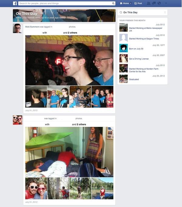 """Facebook thử nghiệm tính năng """"ngày này năm xưa"""" 1"""