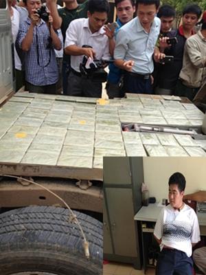 Tráng A Tàng (ảnh nhỏ) bị bắt khi đang cùng vợ và đồng bọn vận chuyển             265 bánh heroin Ảnh: CTV