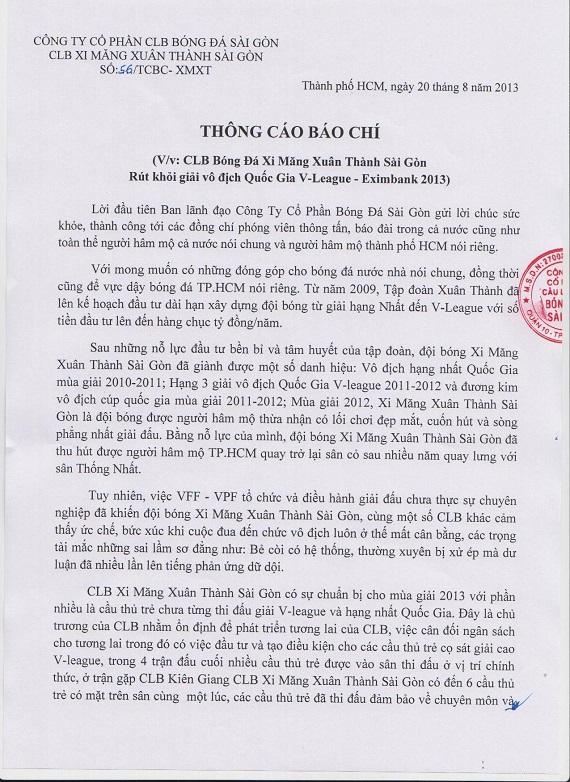 CHÍNH THỨC: XMXT Sài Gòn bỏ V-League 2013
