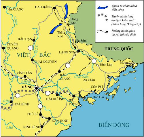 Bản đồ chiến dịch Biên giới 1950.
