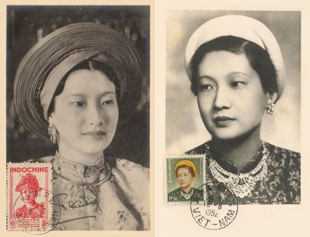 Hình ảnh của hoàng hậu Nam Phương trên 2 con tem.