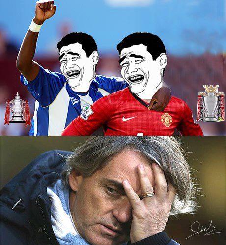 Wigan cùng Man United cười nhạo Mancini