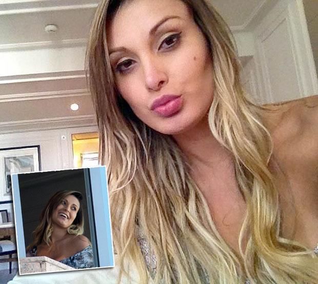 Andressa chụp ảnh trong phòng khách sạn của CR7 thuê