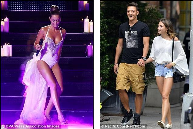 Với cô bạn gái quá đỗi nóng bỏng thế này, Ozil nên thể hiện sự nam tính hơn (như ảnh bên phải)