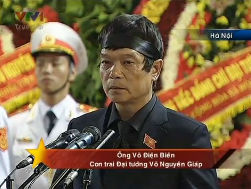 Thay mặt gia đình, ông Võ Điện Biên - con trai Đại tướng Võ Nguyên Giáp đọc lời phát biểu