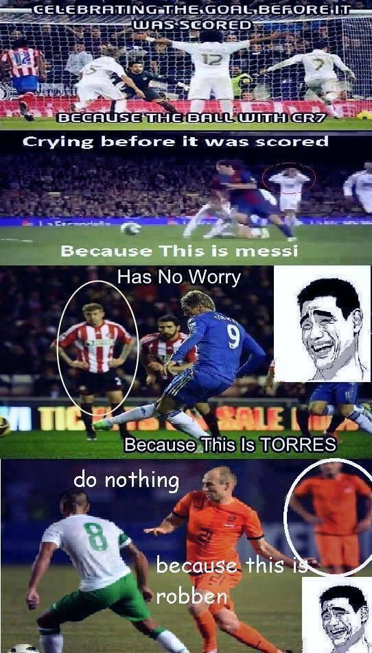 Marcelo ăn mừng ngay khi Ronaldo chưa sút, hậu vệ Real hoảng loạn khi Messi đi bóng. Còn khi Torres sút và Robben dắt bóng thì tất cả đều... thờ ơ