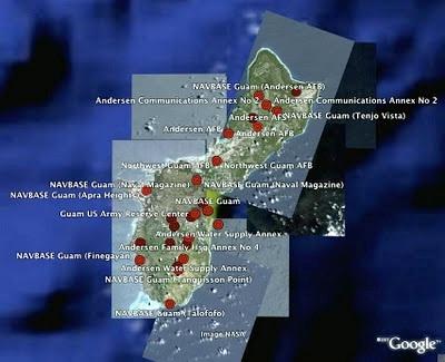 Sơ đồ bố trí các căn cứ quân sựu Mỹ ở Guam