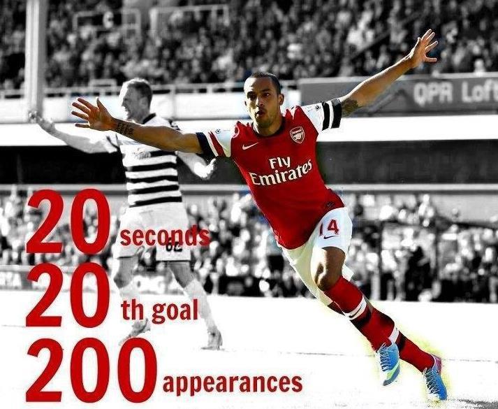 Bàn thắng thứ 20 trong mùa, ở giây thứ 20, trong trận đấu thứ 20 của Walcott cho Arsenal