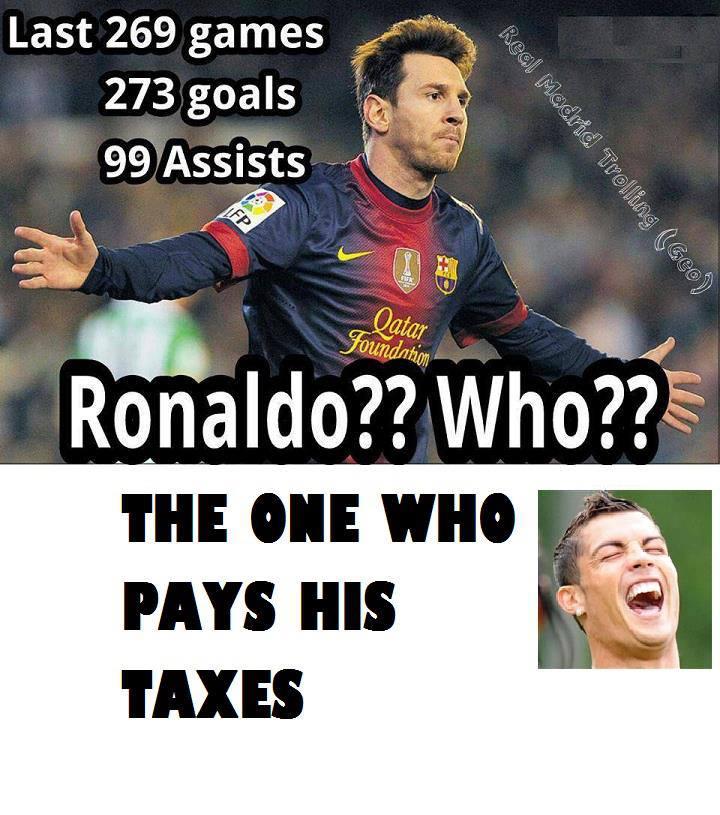 Messi ghi được 273 bàn, có 99 đường kiến tạo trong 269 trận đấu. Vậy Ronaldo thì sao? Đơn giản anh ấy là người trả đủ số tiền thuế của mình