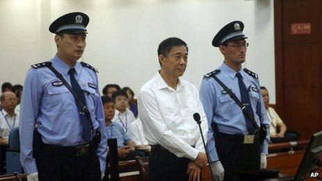 Ông Bạc Hy Lai trong phiên tòa xét xử tại thành phố Tế Nam, tỉnh Sơn Đông cuôi tháng 8/2013
