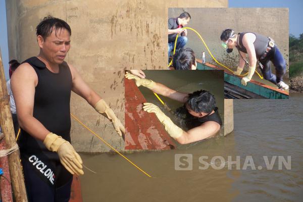 Một thợ lặn đang tả lại khu vực dưới lòng sông gần chân cầu Thanh Trì