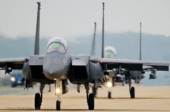 Máy bay chiến đấu F-15k của Không quân Hàn Quốc.