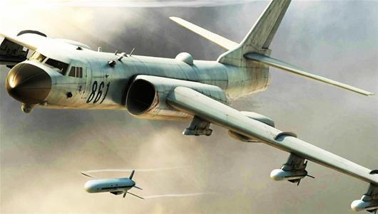 Hình ảnh đồ hoạ mô phỏng máy bay ném bom H-6K phóng tên lửa hành trình Trường Kiếm 10