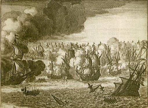 Một bản vẽ cổ mô tả trận hải chiến ngày 04/08/1666