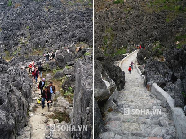 Lối lên Động Hồ Công trước và sau tu bổ.