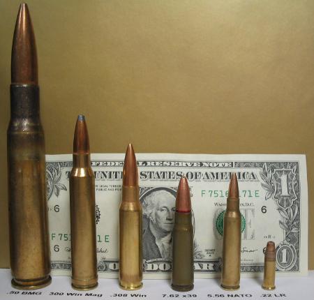 Đạn 12.7mm (bên trái) so với các loại đạn khác
