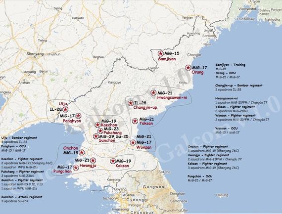 """Toàn cảnh nơi """"trú ẩn"""" của các chiến đấu cơ Triều Tiên."""