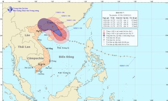 Hình ảnh vị trí và đường đi của bão số 7 (Nguồn: KTTV)