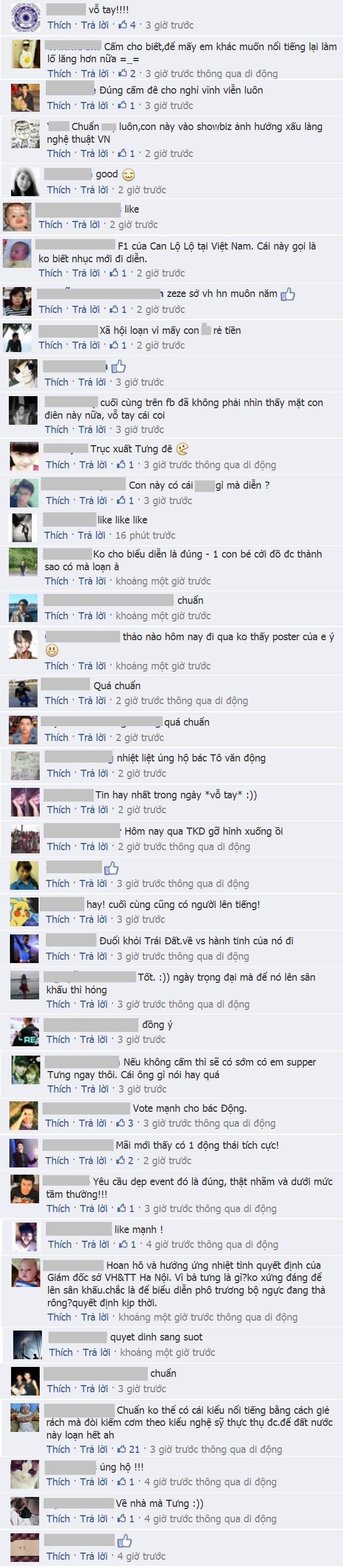 Dân mạng bình luận ủng hộ quyết định của Sở văn hóa Hà Nội.