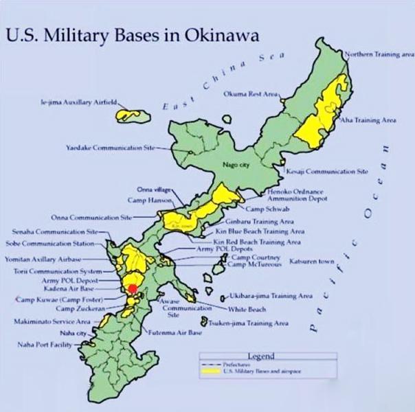 Sơ đồ bố trí lực lượng quân sự Mỹ ở Okinawa, Nhật Bản