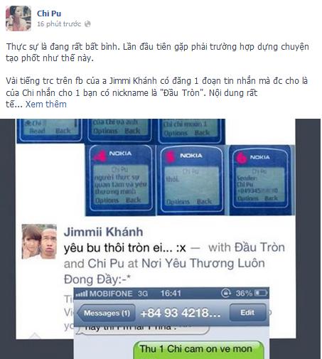 Bức ảnh chụp màn hình facebook Chi Pu.