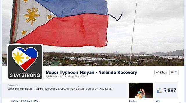 Trang Facebook chia sẻ thông tin về siêu bão Haiyan do những người Philippines lập ra đang được nhiều người quan tâm.