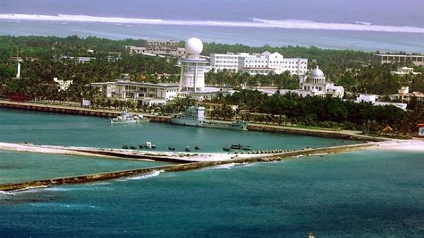 Một góc đảo Phú Lâm, Hoàng Sa của Việt Nam bị Trung Quốc chiếm đóngtrái phép và xây dựng rất nhiều công trình kiên cố, quy mô lớn.