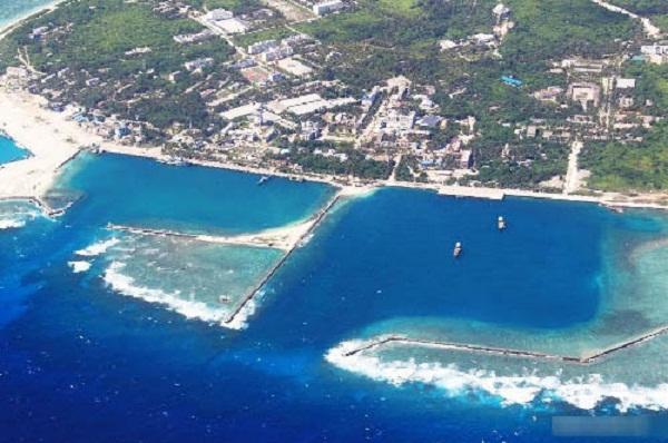 Một bức ảnh chụp ngày 20/5/2013 cho thấy cảng biển mà Trung Quốc xây dựng trái phép trên đảo Phú Lâm.