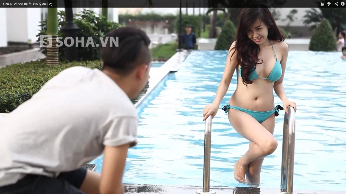 Sựu xuất hiện của Bà Tưng trong clip.
