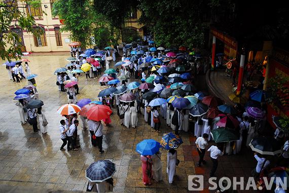 Một số học sinh trường Trần Phú nán lại sân trường xem biểu diễn.