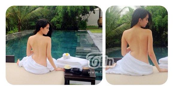 Và bức ảnh bán nude của Ngọc Trinh chụp trước đó