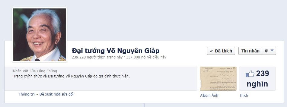 Ảnh chụp fanpage Đại tướng Võ Nguyên Giáp.