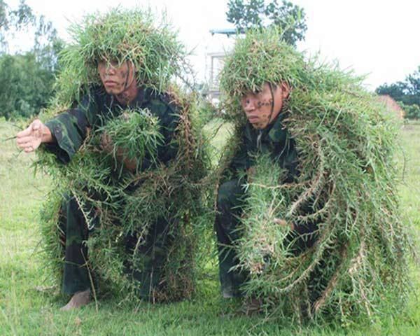 'Ẩn mình' với cỏ và lá cây