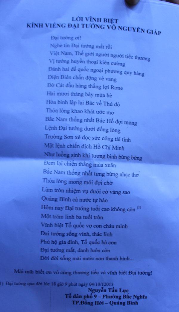 Một trong những bài thơ thấm đẫm nước mắt vĩnh biệt Đại tướng.