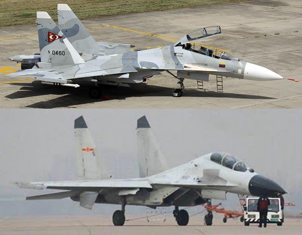 Không thể nhận ra sự khác biệt giữa Su-30MK2 của Nga(ở trên) và J-16 của Trung Quốc (ở dưới)
