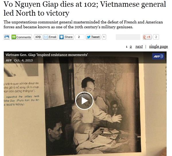 Tin tướng Giáp từ trần trên tờ Los Angeles Times (Mỹ).