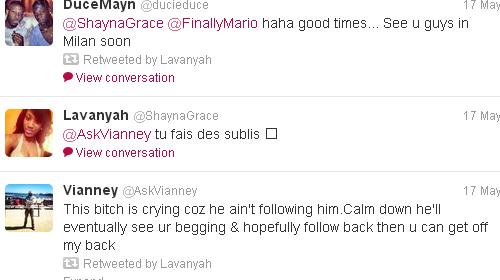 Balotelli và Shayna thường xuyên trò chuyện trên Twitter
