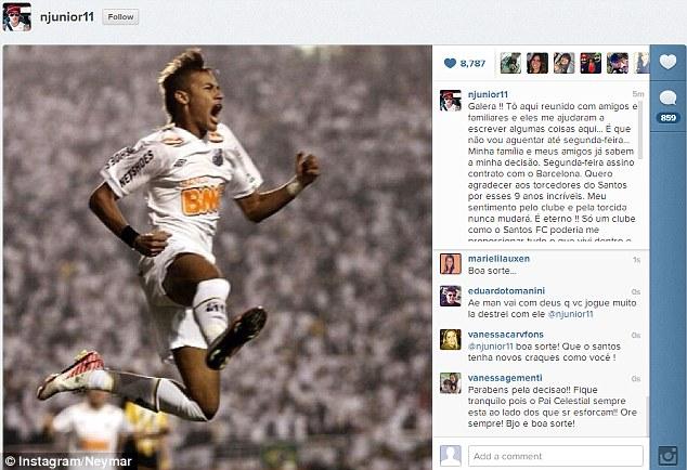 Neymar thông báo tin rời Santos với NHM trên Instagram vào hôm thứ Bảy vừa rồi