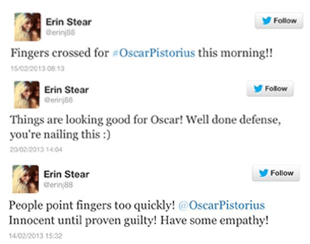 Erin liên tục bênh vực Oscar trên Twittter