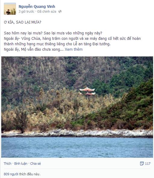 Những dòng chia sẻ của nhà văn Nguyễn Quang Vinh trên trang facebook cá nhân