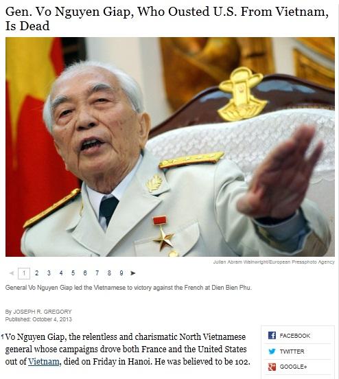 Tờ New York Times ca ngợi tướng Giáp là một sử gia quân đội uyên bác