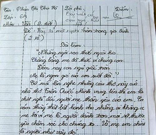 Bài văn trong sáng, giản dị nhưng chân thành của cô bé lớp 6.