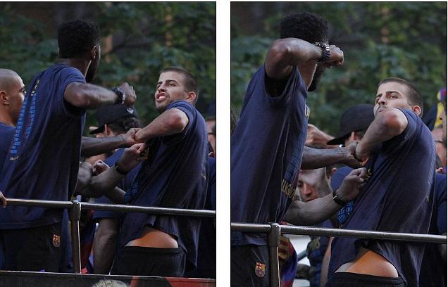 """""""Sao"""" Barca lao vào choảng nhau trong lễ diễu hành vô địch"""