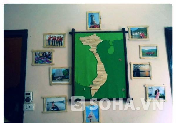 Nhiều người bất ngờ bởi bức tranh bản đồ Việt Nam được ghép từ những que kem mà thành viên Đội nhặt ở Hồ Gươm.