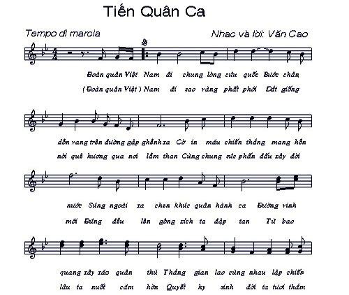 Ca khúc Tiến quân ca của nhạc sỹ Văn Cao