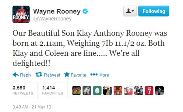 Rooney hớn hở đón con trai thứ Klay Anthony Rooney