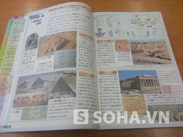 Cuốn sách Lịch Sử của Nhật được in màu, rất đẹp, với nhiều hình minh hoạ sinh động, đẹp mắt.