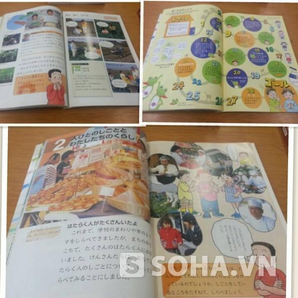 Sách giáo khoa Xã hội của học sinh tiểu học ở Nhật rất sinh động.