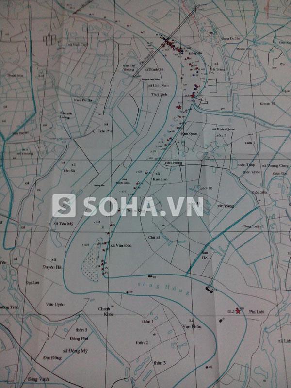 Bản đồ xác định các vị trí khả nghi có thi thể chị Huyền được TS Bằng và các nhà khoa học lập.
